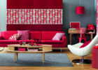 Awesome Red Living Room Interior Ideas with Living Room Drapes Design
