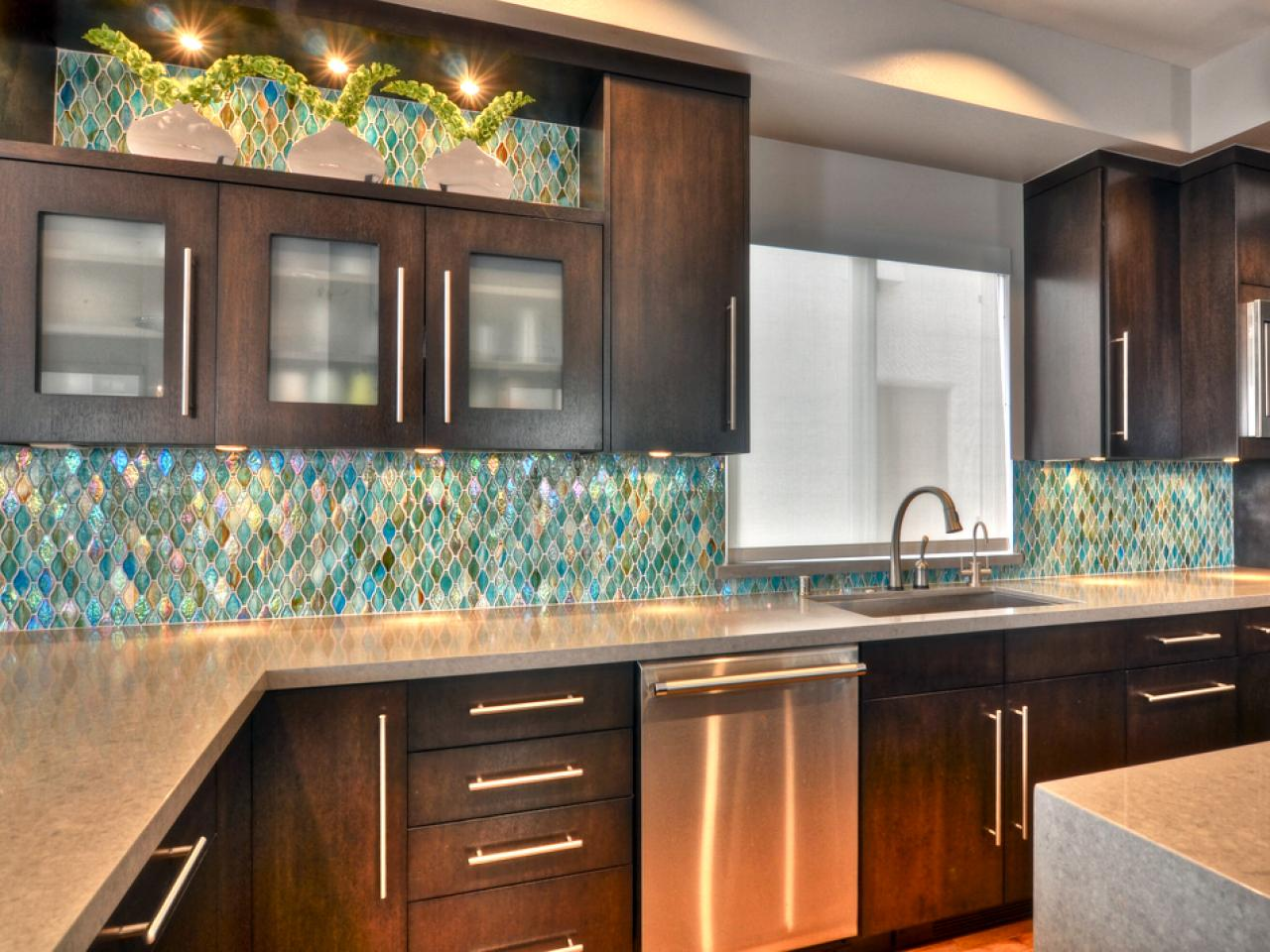 Beautiful Blue Color Schemes Kitchen Backsplash Designs and Dark Wood Kitchen Cabinets