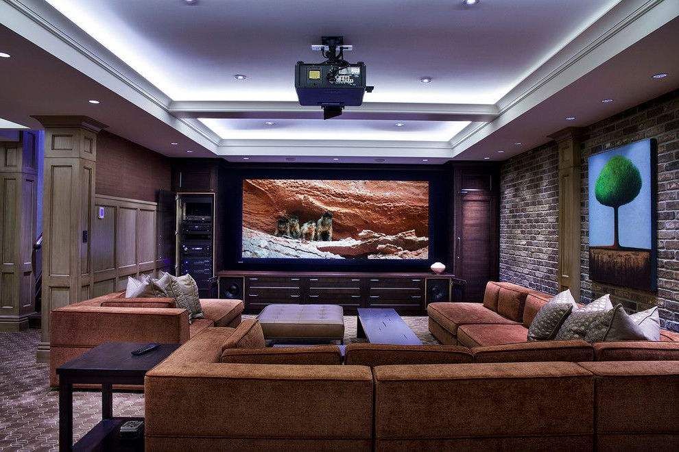 Big Modern Interior Living Room Theaters with Cheap Brown Sectional SofaFurniture Online