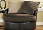 Black Round Leather Swivel Chairs and Two Cushion for Living Room with Cheap Modern Furniture
