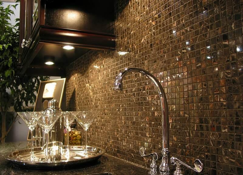 Black Small Tiles Kitchen Backsplash Designs with Modern Metal Sink Ideas