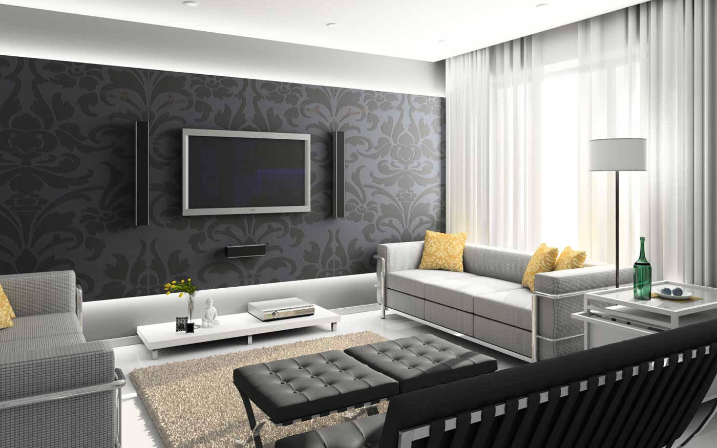Black White Interior Living Room Theaters Decor Ideas with Cheap Modern Furniture Online