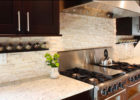 Black Wooden Kitchen Cabinet Designs and White Stone Kitchen Backsplash Designs Photos