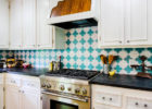 Blue and White Tiles Pattern Kitchen Backsplash Designs and White Wood Kitchen Cabinet Designs
