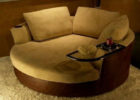 Brown Big Round Swivel Chairs and Three Cushions for Living Room with Cheap Modern Furniture