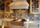 Ceramic Tiles Kitchen Backsplash Designs and Maple Kitchen Cabinet with Glass Doors Cabinetry