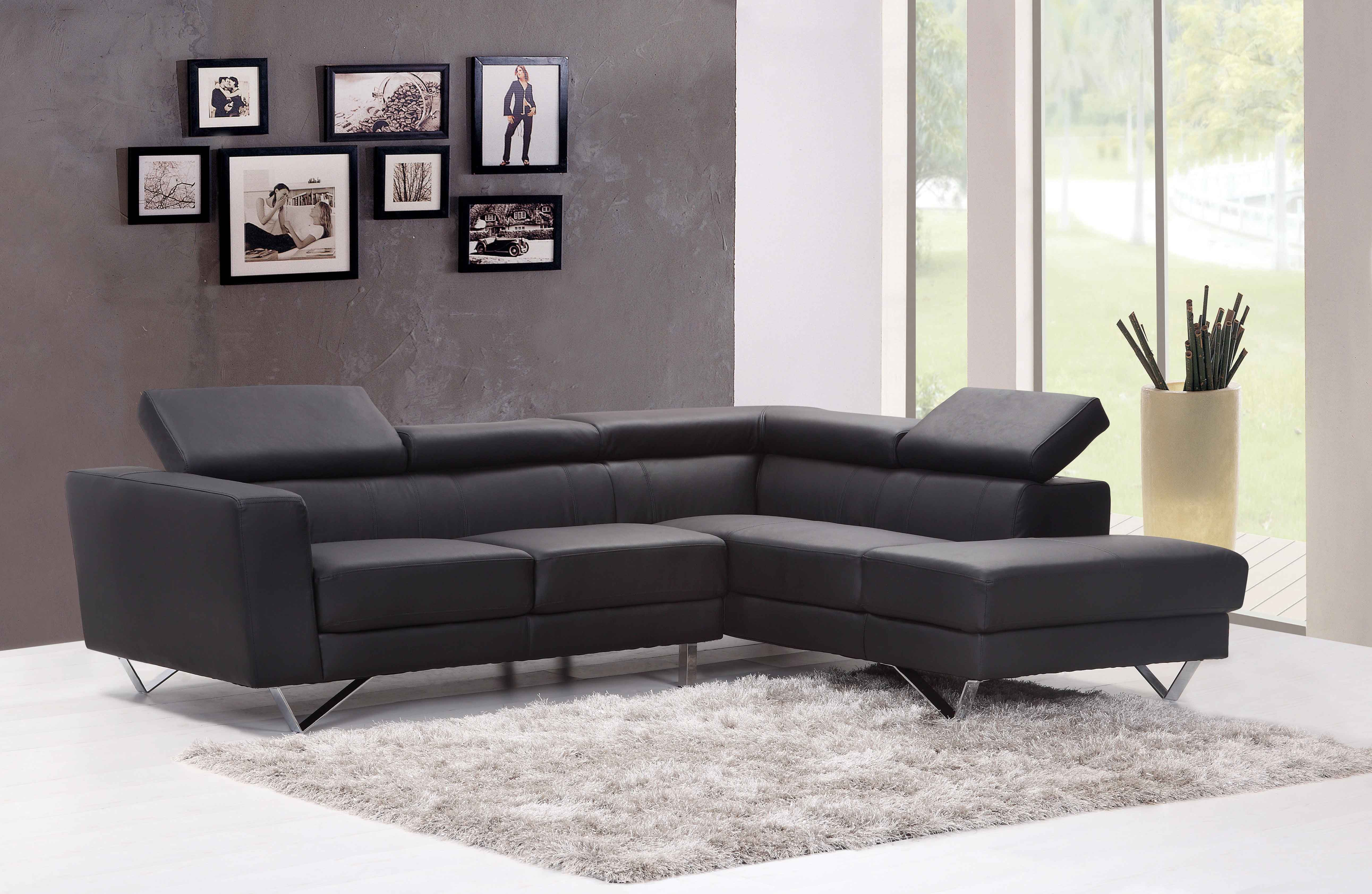 Cheap Black Sectional Sofa Modern Furniture for Modern Living Room Sets