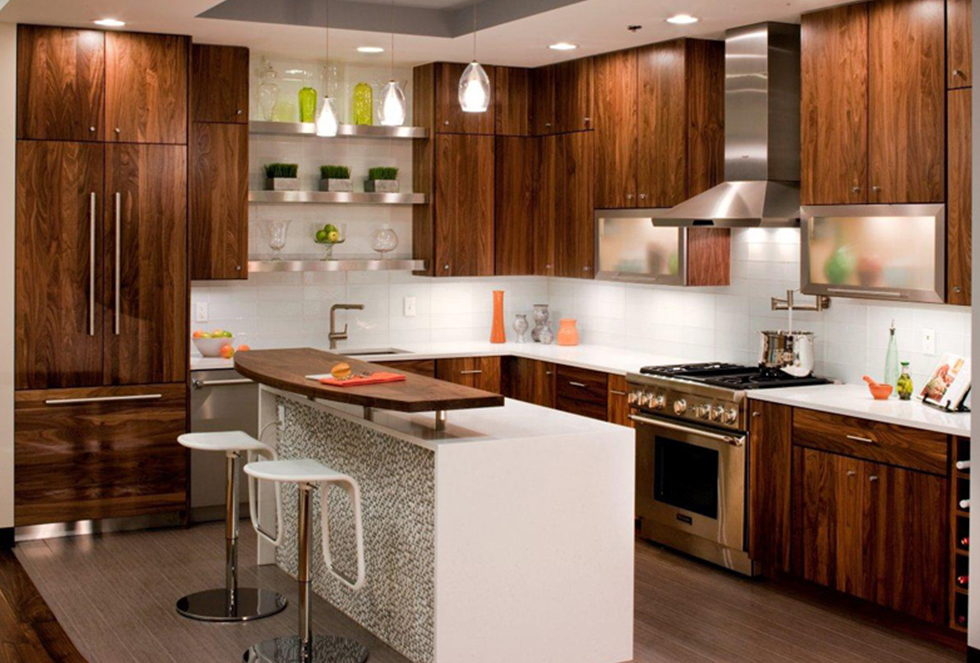 Cheap-Kitchen-Cabinets-Refacing-Ideas-brown-kitchen-cabinet-with-white-island