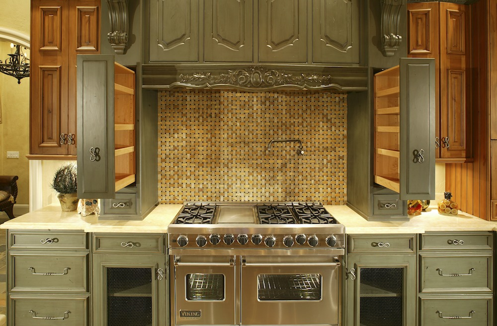 Cheap-Kitchen-Cabinets-Refacing-Ideas-with-built-in-modern-stove