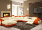 Cheap White Orange Sectional Modern Sofa Furniture for Modern Living Room Sets