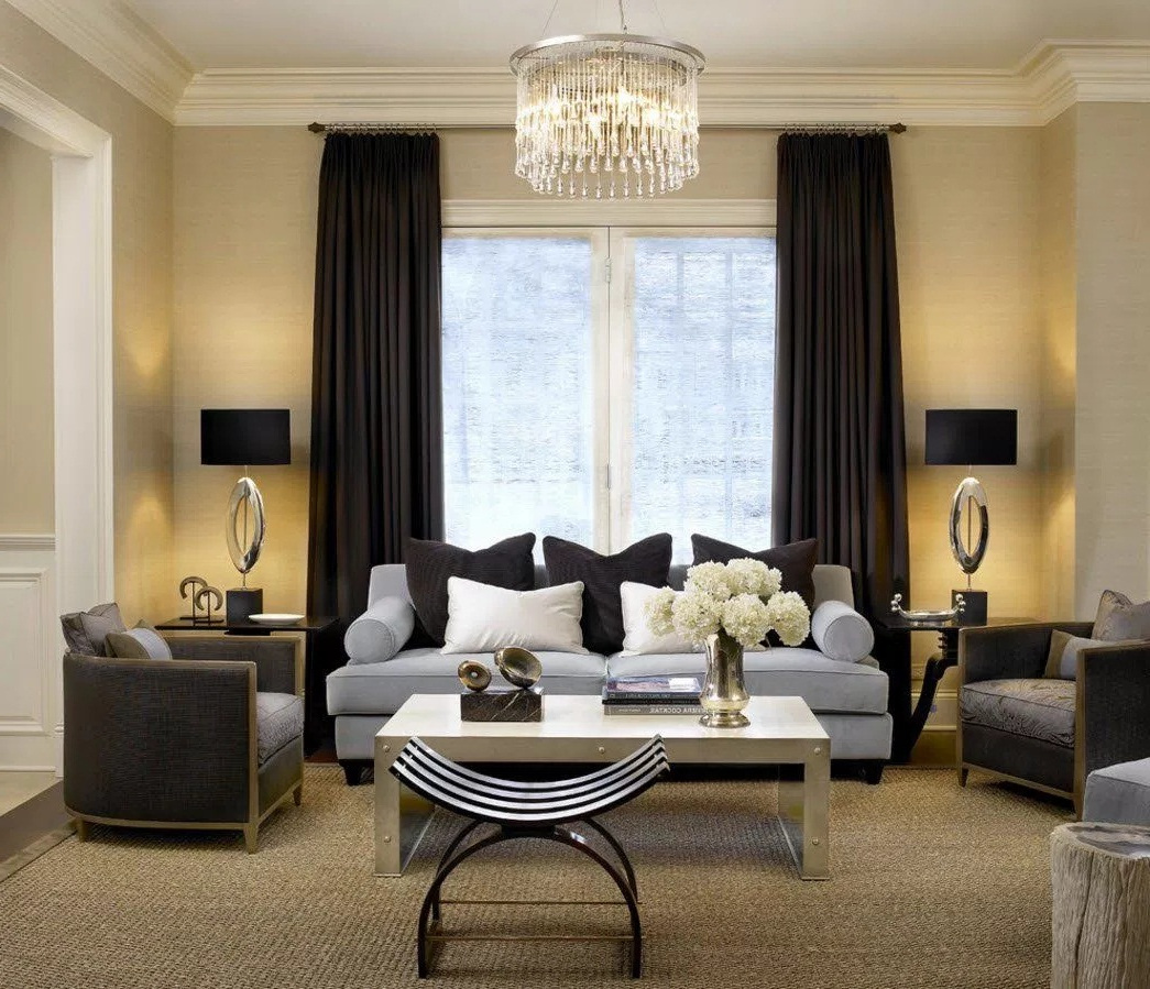 Color Schemes for Modern Living Room with Black Curtain Ideas for Living Room