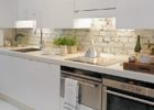 Contemporary Bricks Kitchen Backsplash Designs Ideas with Modern White Kitchen Cabinets Designs