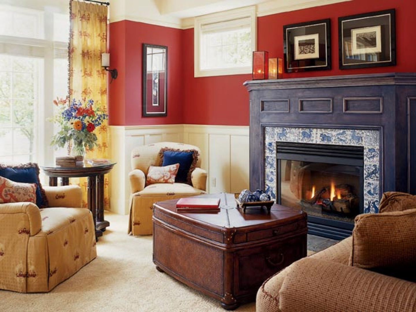 Red color schemes for living rooms with fireplace