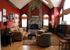 Contemporary Red Living Room Interior Ideas with Red Living Room Wall Paint