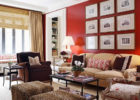 Contemporary Red Wall Living Room Ideas with Living Room Drapes