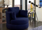 Dark Blue Swivel Chairs for Living Room Interior Decoraions with Cheap Modern Furniture