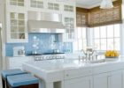 Decorating Ideas for Blue Tiles Kitchen Backsplash Designs with White Kitchen Island