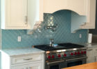 Decorating Ideas for Blue Tiles Kitchen Backsplash Designs with White Wooden Kitchen Cabinet