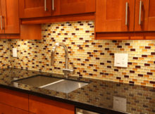 Decorating Ideas for Mosaic Tiles Kitchen Backsplash Designs with Maple Kitchen Cabinet