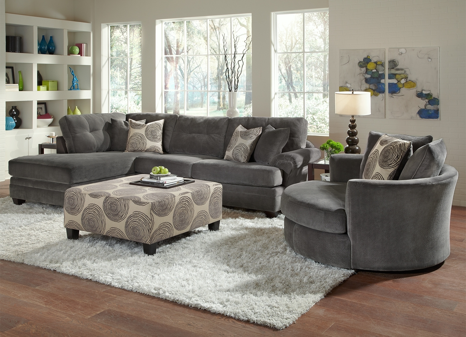 Grey Modern Swivel Chairs Sets for Living Room with Cheap Modern Sectional Sofa Furniture