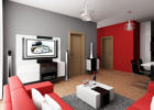 Grey Red Living Room Interior  Ideas with Red Modern Living Room Couch