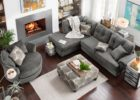 Grey Sectional Sofa and Round Swivel Chairs for Living Room with Cheap Modern Furniture