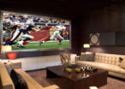 How to Design Big Screen View Living Room Movie Theaters with Modern Tufted Sofa
