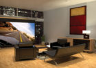 How to Design Contemporary Living Room Big Screen Movie Theaters with Modern Black Furniture Ideas