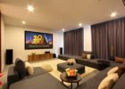 How to Design Contemporary Living Room Movie Theaters with Grey Fabric Sectional Sofa Ideas