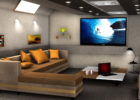 How to Design Modern Model Living Room Theaters with Sectional Sofa and Orange Cushion