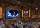 How to Design Traditional Wooden Living Room Movie Theaters Decor with Big Screen View