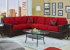 Leather Red Couch Living Room Ideas with White Living Room Drapes