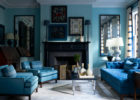Leather Tufted Blue Sofa Living Room Ideas with Wall Paint Ideas for Contemporary Living Room