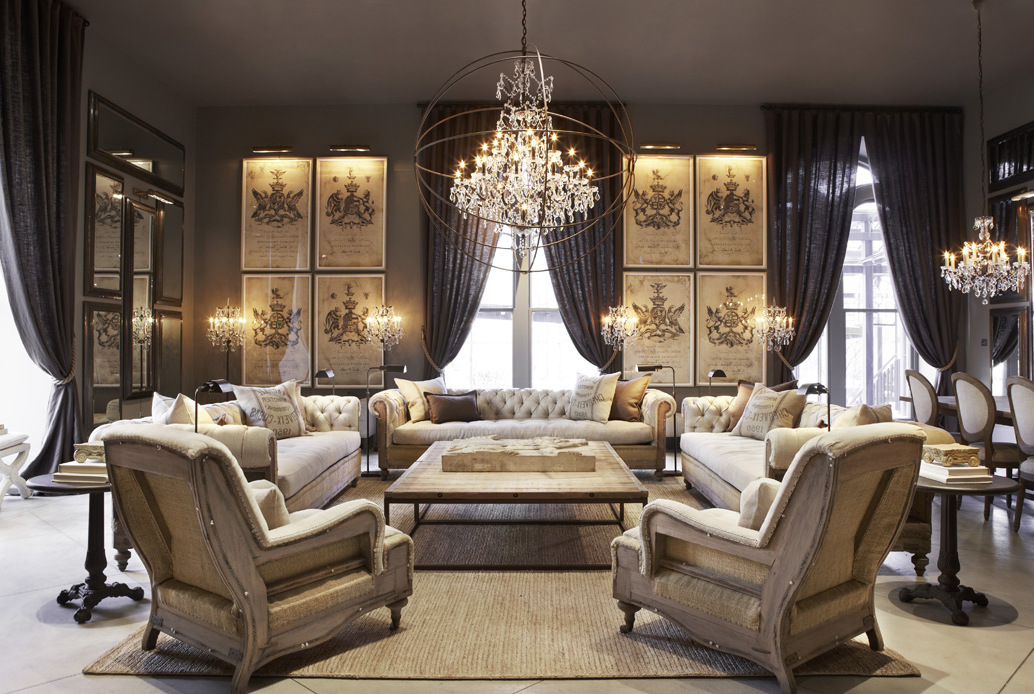 Luxury Living Room Furniture with Pendant Light Glass in Discount Furniture Stores