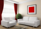 Modern Red Living Room Ideas with White Sectional Sofa and Red Living Room Drapes