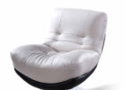 Modern White Swivel Tufted Chairs for Living Room with Cheap Leather Modern Furniture