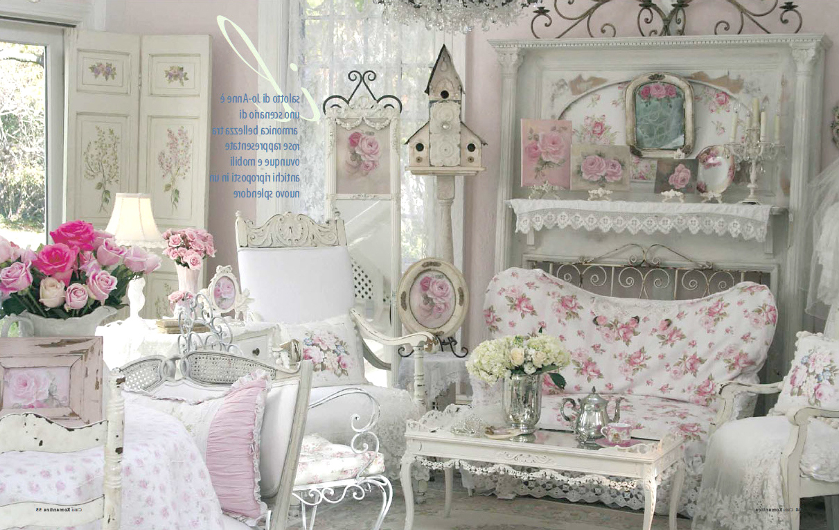 Pink Flower Shabby Chic Living Room on How to Decorate a Living Room with White Furniture Arrangments