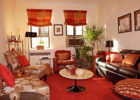 Red Color Schemes Living Room Interior Ideas with Modern Living Room Blinds