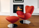 Red Leather Swivel Chairs Ottoman and Rund Metal Legs for Living Room with Cheap Modern Furniture