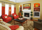 Red Living Room Couch Ideas with Living Room Drapes Decor