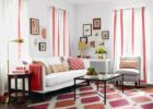 Red Living Room Schemes Ideas with Living Room Stripes Drapes Design