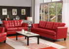 Red Living Room Tufted Sofa Ideas with White Living Room Drapes