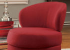 Red Round Swivel Chairs with Round Metal Legs Designs for Living Room with Cheap Modern Furniture Ideas