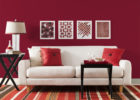 Red Schemes Living Room Interior Ideas with Painting Living Room Decor