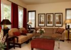 Red Schemes Living Room Interior Ideas with Red Living Room Drapes