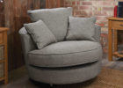 Round Grey Swivel Chairs and Three Grey Fabrics Cushions for Living Room with Cheap Modern Furniture