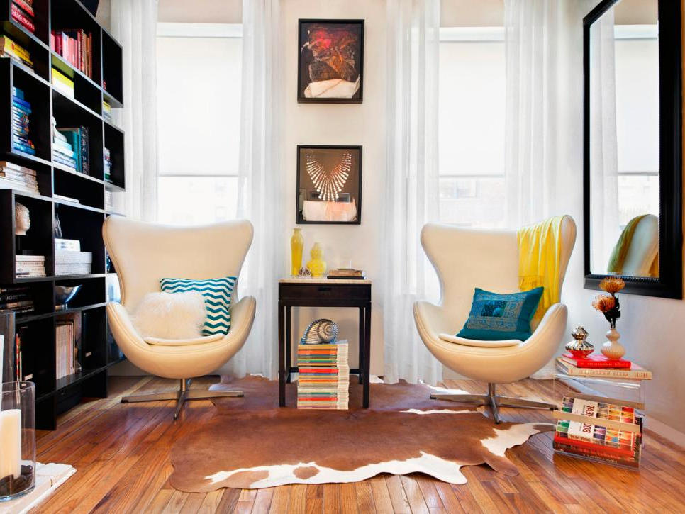 Two Modern Swivel Chairs for Small Space Living Room Design with Paint Ideas for Living Room