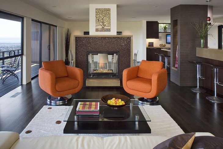 Two Orange Fabrics Swivel Chairs Metal Legs for Living Room Interior Designs with Cheap Modern Furniture