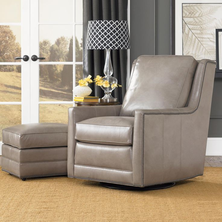 White Leather Swivel Chairs and Ottoman for Living Room with Luxury Cheap Modern Furniture