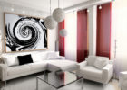 White Red Living Room Interior Ideas with Red Living Room Drapes Design